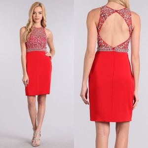 New! 1631 Red Dress with Rhinestone Embellishments